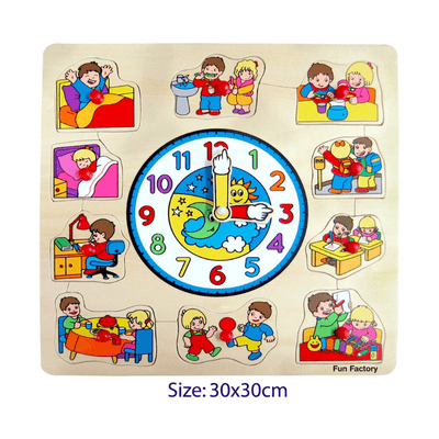 Square Clock with Children Puzzle