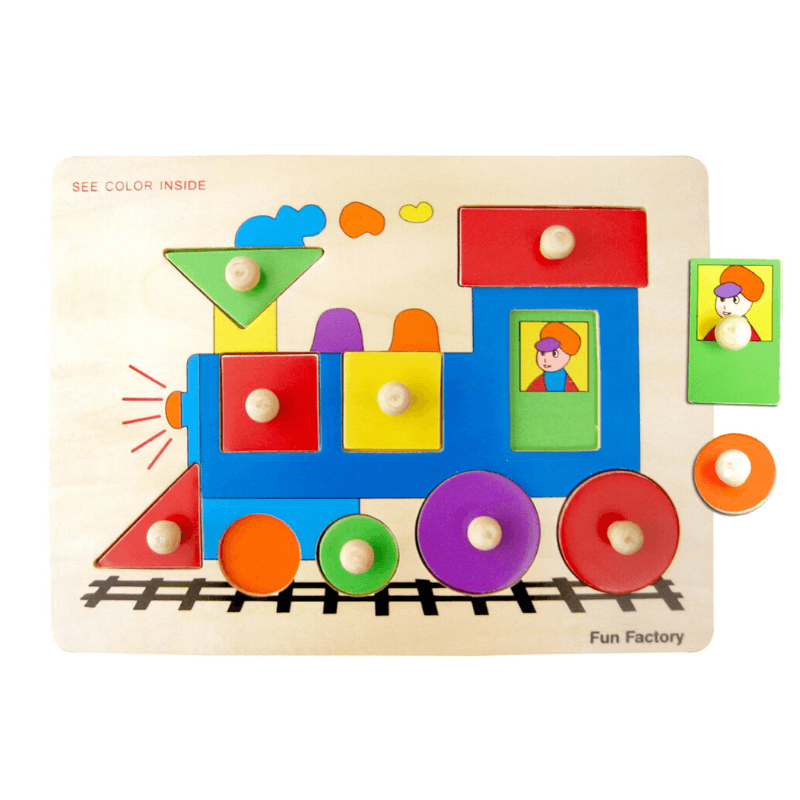 Wooden Train Puzzle with Knobs
