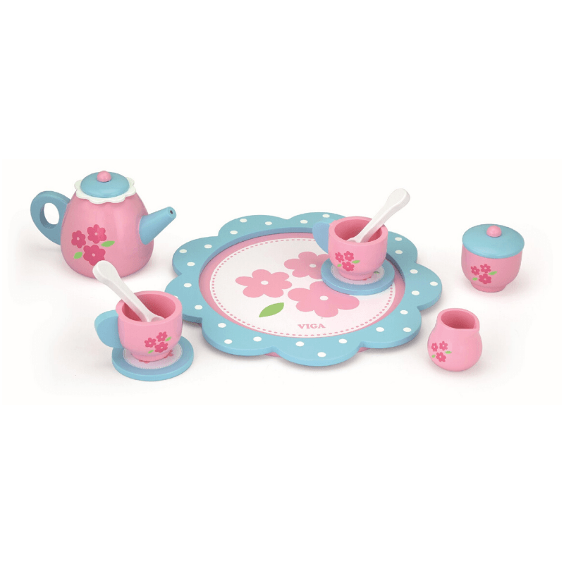 Wooden Pink and Blue Tea Set