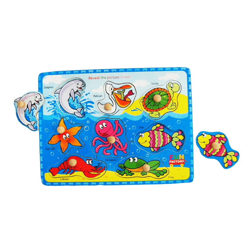Colourful Sealife Puzzle with Knobs