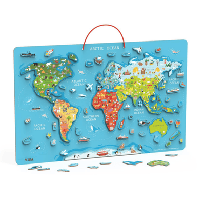 Magnetic World Map Puzzle with Whiteboard