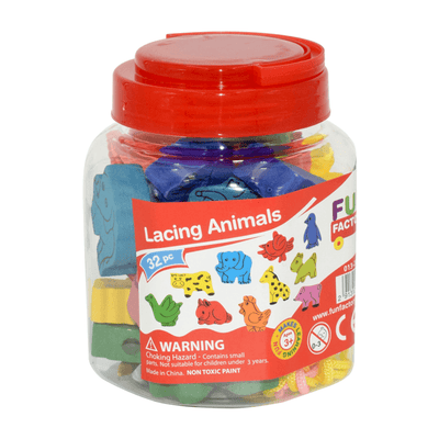 Colourful Lacing Animals in a Jar