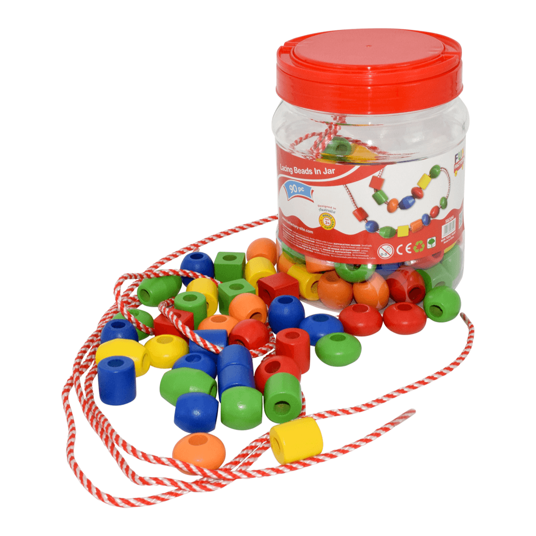 Lacing Beads in a Jar - 90 wooden pieces