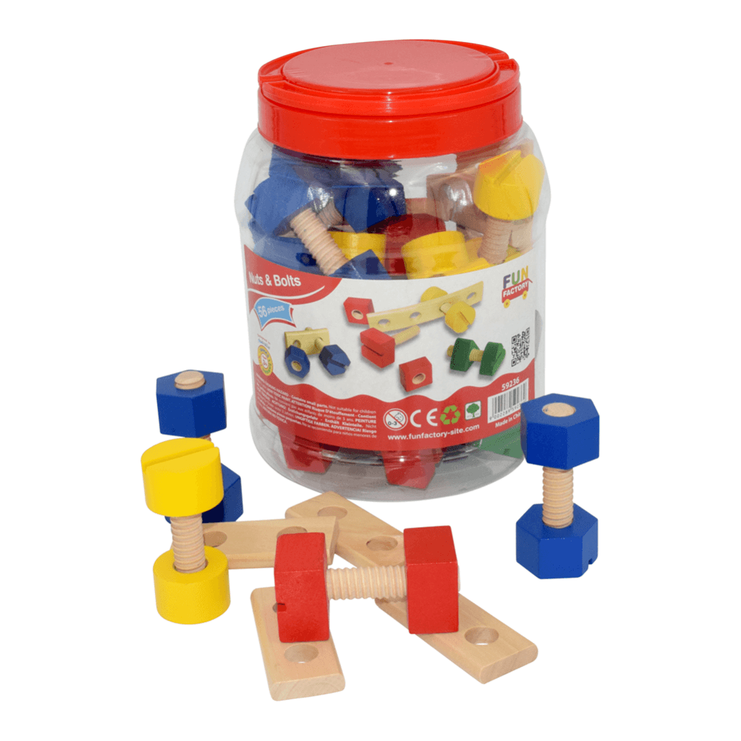 Wooden Nuts & Bolts in a Jar - 56 piece