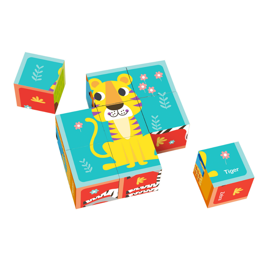 Animal Cube Puzzle with Drawing Cards