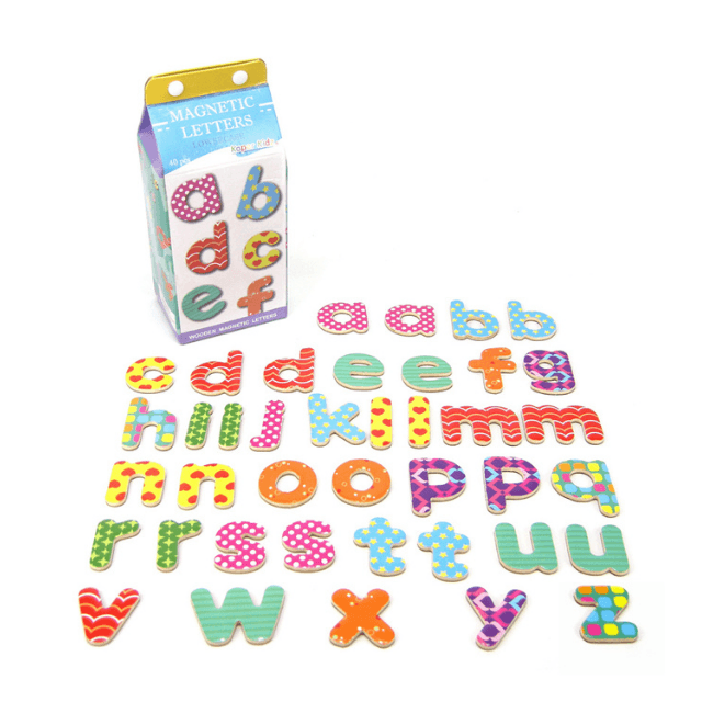 Magnetic Lowercase Letters in a Milk Carton