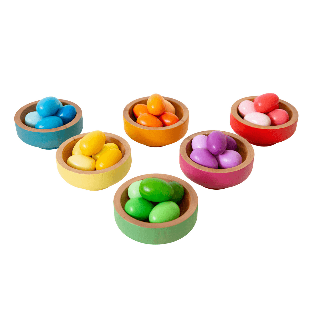 Rainbow Nesting Bowls with Eggs
