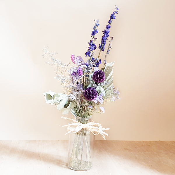 Dried flower bouquet - purple and blue mix - small