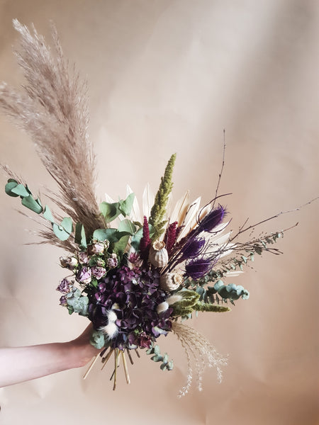 Dried flower bouquet - purple mix - large