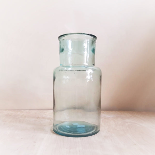 Recycled glass hurricane vase