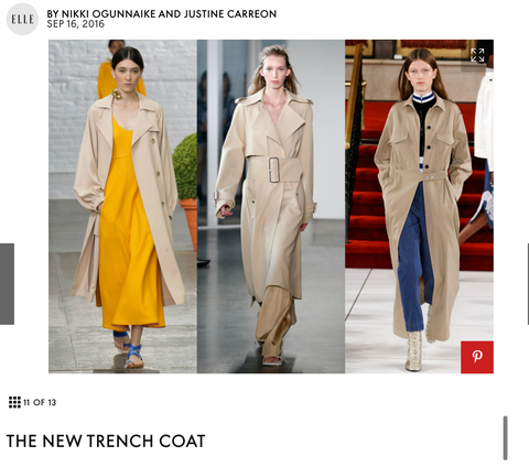 Trench coats are a new fashion trend for Spring.