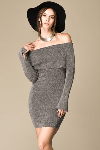 I Mist You Off The Shoulder Grey Dress