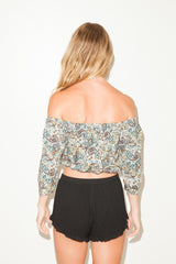 Off The Shoulder Print Crop Top