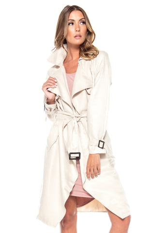 Street Chic Flowy Belted Trench Coat - Sand