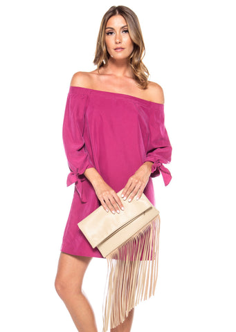 Fold Over Leather Fringe Clutch