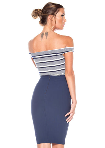 Starboard Side Stripe Bodysuit - Navy/Ivory