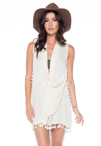 Easy Breezy Tassel Cover Up/Vest/ Top - Ivory