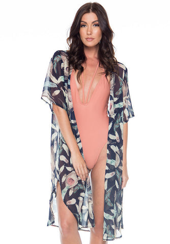 Carried Away Feather Pattern Kimono Top/Cover Up
