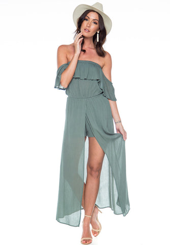 Infinite Love Off The Shoulder Maxi Dress - Olive