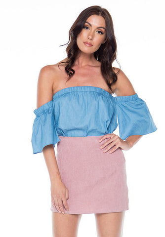 Dreamy Darlin' Chambray Off The Shoulder Top