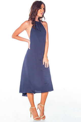Haute For You Navy Halter Dress