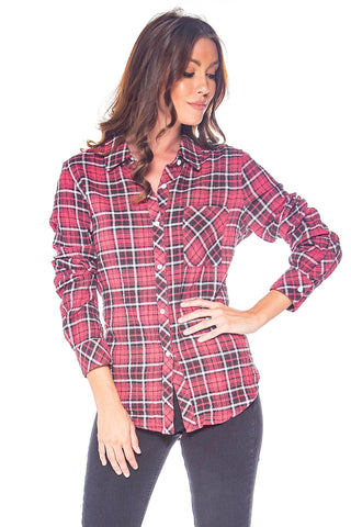 Plaid With My Heart Red & Black Button Up Top