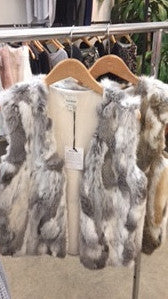 Fur Real Multi Color Rabbit Fur Vest