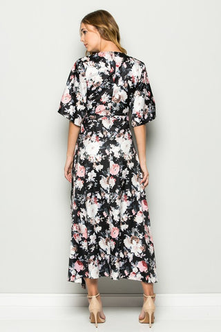 Work The Bloom Black Floral Maxi Dress
