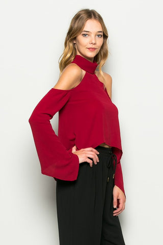 Walk The Talk Cold Shoulder Long Sleeve Top - more colors