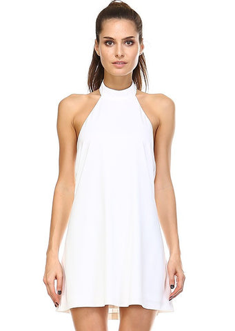 Perfectly Posh Mock Neck Dress in Black & OFF White