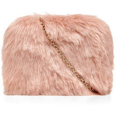 What Tha Faux Fur Clutch w/ Gold Chain