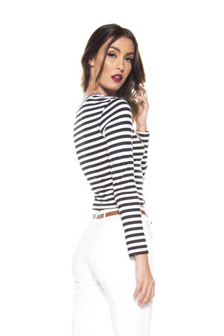 Stripe Me Pretty Crop Top - Black & Ivory- Back In Stock!
