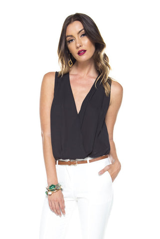 Front Layered Bodysuit Top - Black