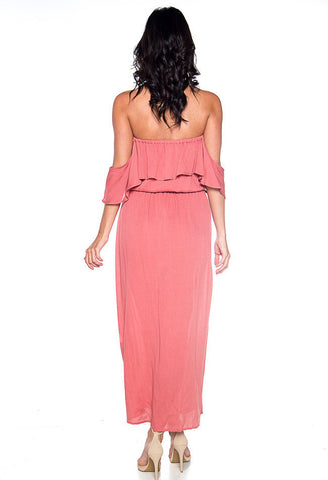 Infinite Love Off The Shoulder Maxi Dress - Coral