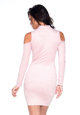 Fun & Fame Cold Shoulder Dress Dusty Pink