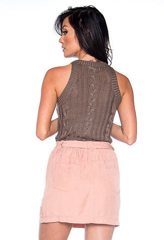 Walking On Heir Cable Knit Top - Mocha