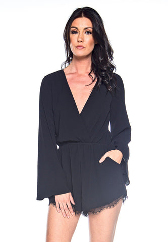 Into The Night Black Romper