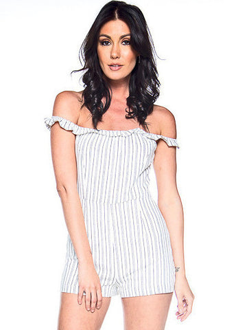 Show Your Stripes Off The Shoulder Ruffle Romper