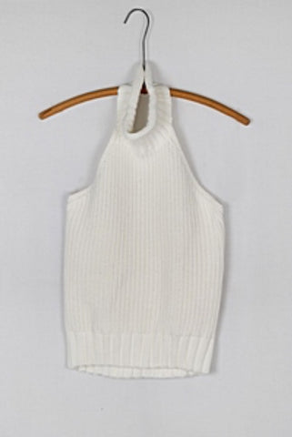Neat Knit Ivory Halter Top