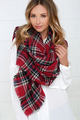 Cold Snap Red Plaid Blanket Scarf