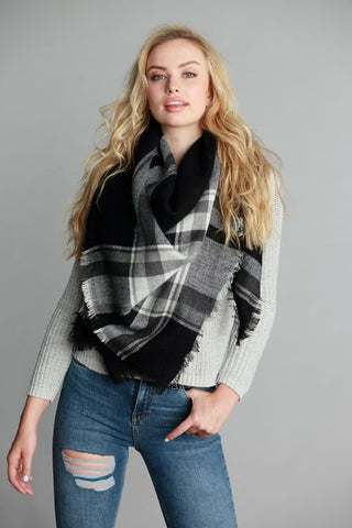 Plaid A Good Time Black Plaid Blanket Scarf