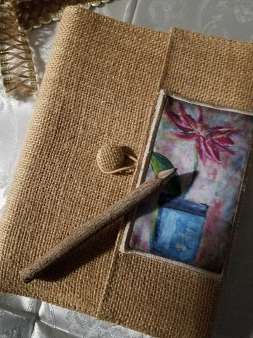 Burlap Journal with hand carved pencil