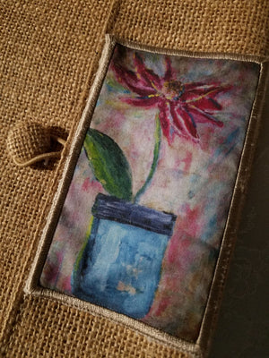 Peony in a Mason Jar journal with hand carved pencil