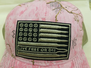 Live Free Bullet Flag Patch Hats