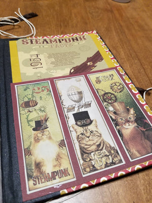 Shadowbox Journal Cover - Steampunk Cat & Mouse
