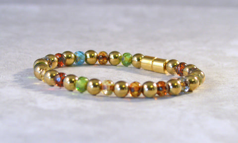 Gold Metallic Magnetic Hematite and Czech Glass Bracelet