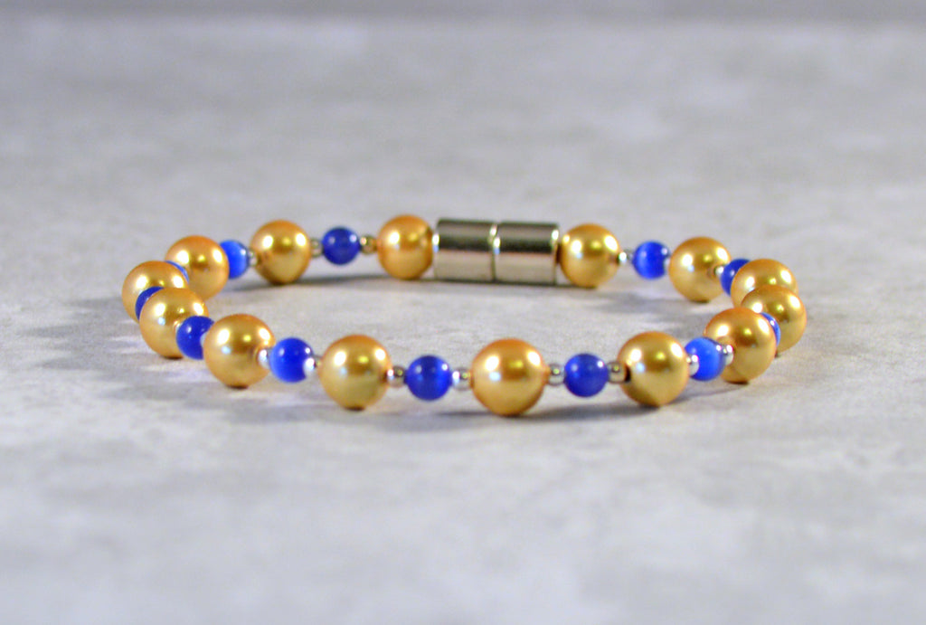 Gold Pearl Magnetic Hematite and Blue Bracelet