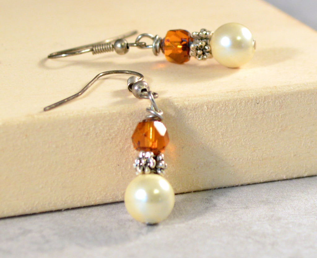 Cream Pearl Magnetic Hematite and Topaz Fire Polished Earrings