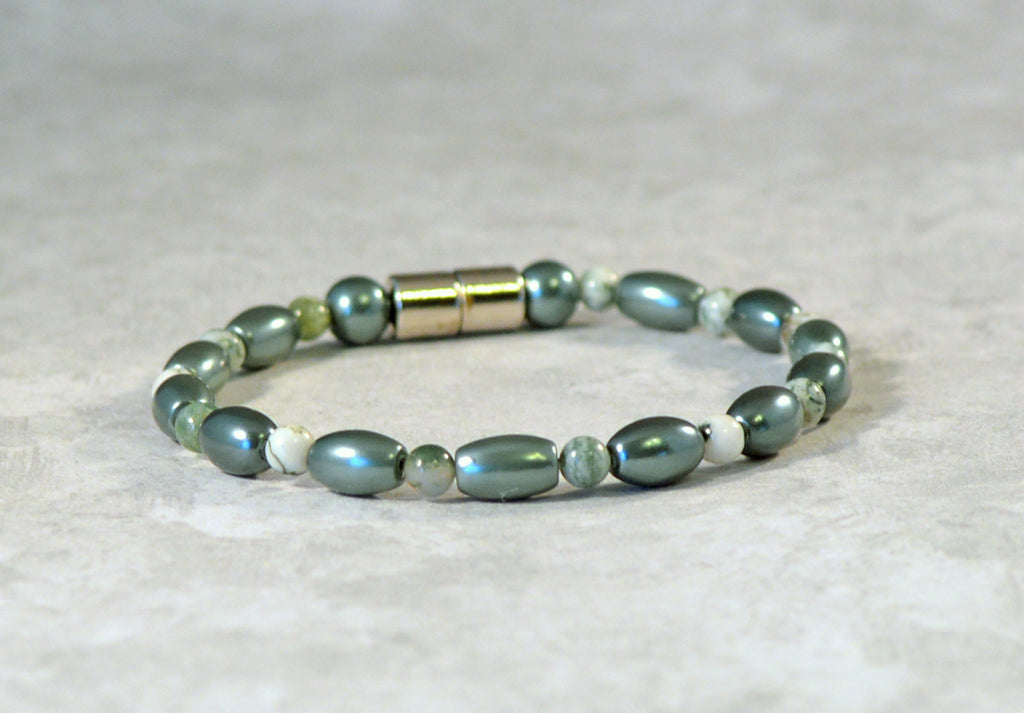 Teal Magnetic Hematite and Tree Agate Gemstone Bracelet