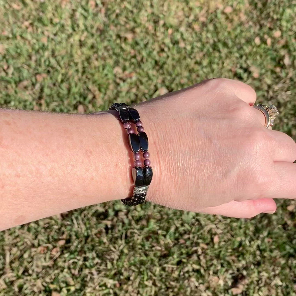 Black & Burgundy Double Strand Magnetic Bracelet